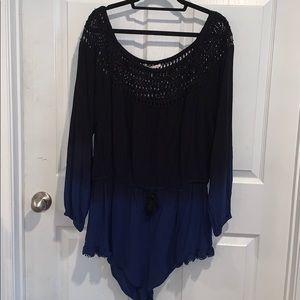 Victoria's Secret Romper- Black and Blue Ombré